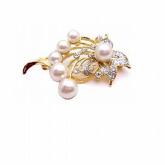 Elegante & zierlich Gold gerahmt Geschenk Blumenstrauß Perlen Brosche