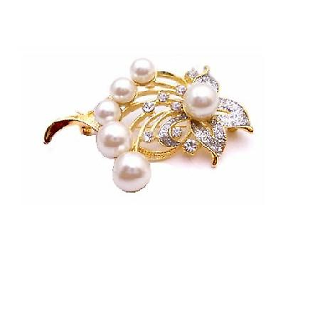 Elegant & Dainty Gold Framed Gift Bouquet Pearls Brooch