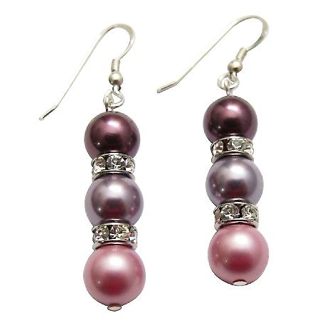 Handcrafted Swarovski Pearl 3 Colors Silver Earrings & Silver Rondells