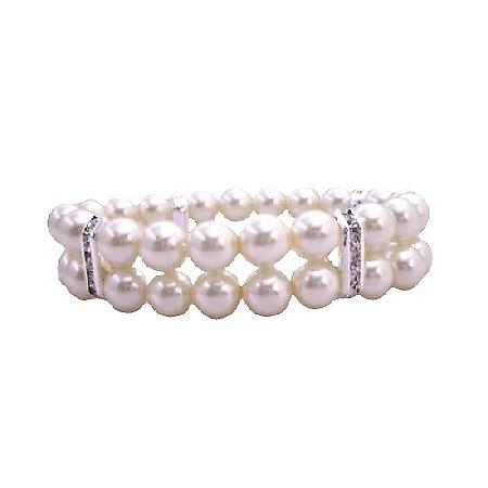Double Strands Cream Pearls Stretchable Bracelet w/ Silver Rondells