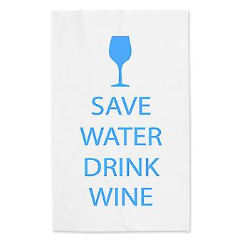 Save Water Drink Wine White Tea Towel Blue Text