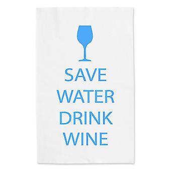 Spare vann drikker vin hvit te håndkle blå tekst