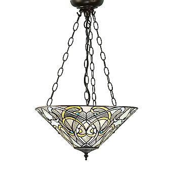 Dauphine moyen Tiffany Style inversé trois plafond lumineux pendentif - Interiors 1900 64052