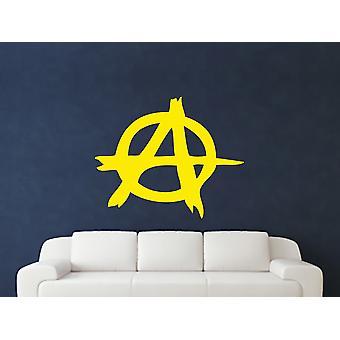 Anarchy Symbol Wall Art Sticker - Bright Yellow