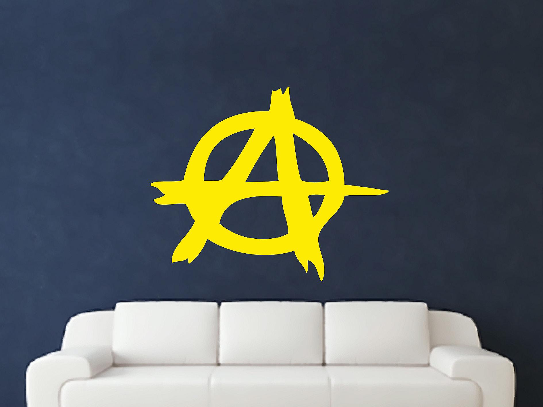Anarchy Symbol Wall Art Sticker - Bright Yellow