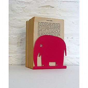 Pink Elephant Animal Bookend by Susan Bradley