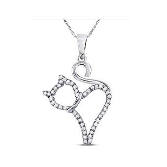 1/8 Carat (ctw Clarity I2-I3) Diamond Cat Charm Pendant Necklace in 10K White Gold with Chain