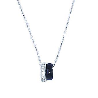 Ah! Bijoux argent & bleu bande céramique pendentifs avec cristaux de Swarovski collier