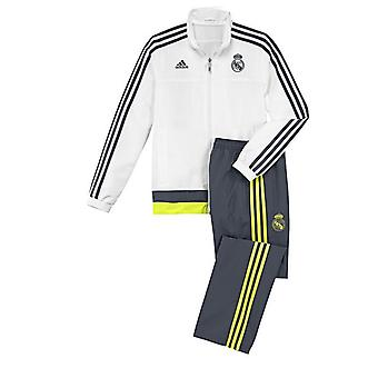 2015-2016 Real Madrid Adidas Presentation Tracksuit (White-Black) - Kids