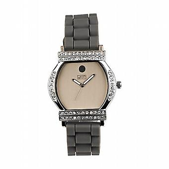 Eton Crystal Barrel Silver Dial Grey Strap Ladies Fashion Watch 2999J