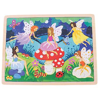 Bigjigs Toys Wooden Enchanted Fairies Tray Puzzle (35 Piece) Educational Jigsaw