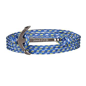 Holler Mosley  Black Polished Anchor / Blue, Yellow and White Paracord Bracelet HLB-01BKP-P17