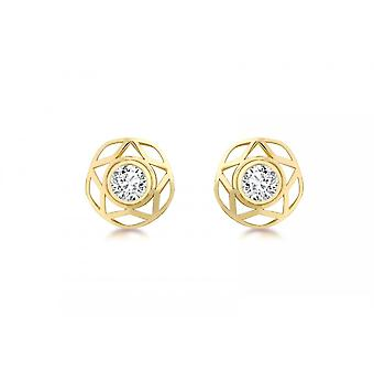 Eternity 9ct Gold 10mm Cubic Zirconia And Star Stud Earrings