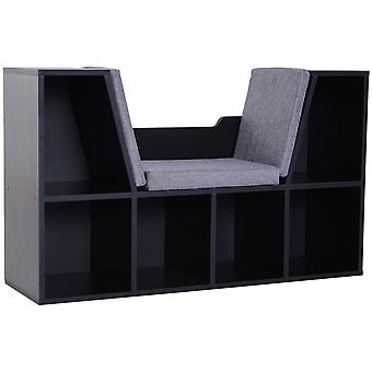HOMCOM Bookcase Storage Reading Seat Unit Kids Adults Six Cubes Organiser Home Bedroom Relaxation Black