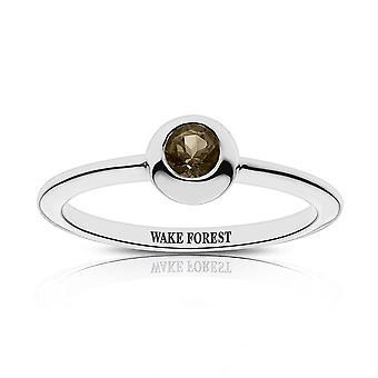 Wake Forest University-Wake Forest indgraveret lys Smokey Quartz ring