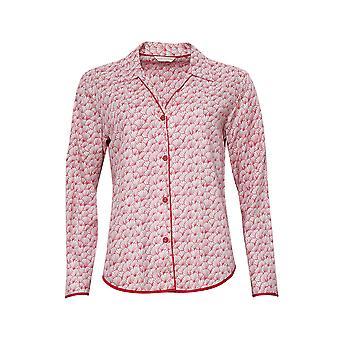 Cyberjammies 4206 Women's Evie Red Mix Fan Print Cotton Pyjama Top