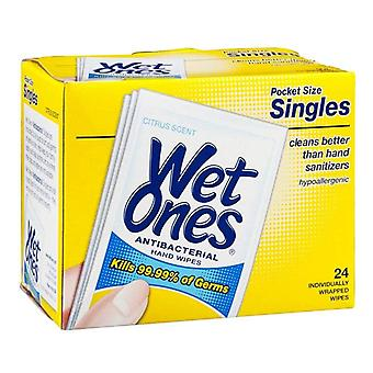 Wet ones antibacterial hands & face wipes singles, citrus, 24 ea