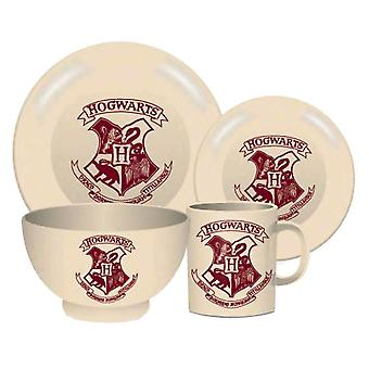 Harry Potter Hogwarts Crest 4 Piece Ceramic Dinner Set