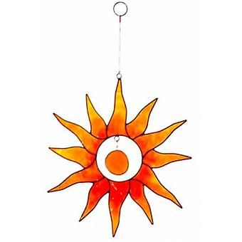 Soleil rouge et orange avec le Suncatcher de pépite de verre