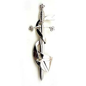 Sterling Silver Sword Kilt Pin with Saltire Flag (833K WH)