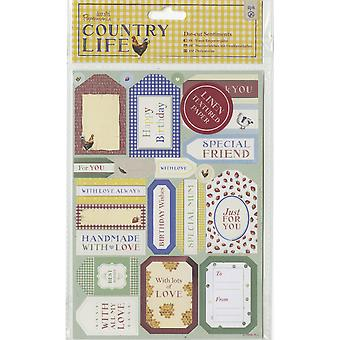Papermania Country Life Die-Cuts 2/Sheets-Sentiments, Linen Finish PM157262
