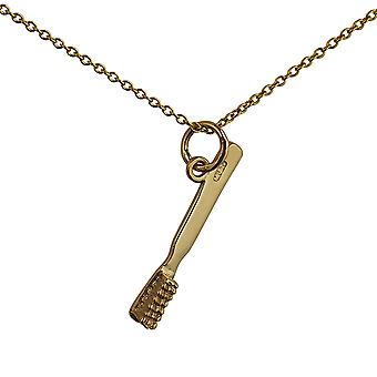 9ct Gold 25x3mm Toothbrush Pendant with a cable Chain 16 inches Only Suitable for Children