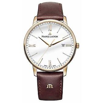 Maurice Lacroix Mens quadrante rotondo bianco Brown Leather Watch Strap EL1118-PVP01-112-1