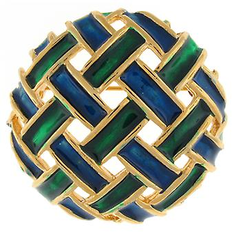 Brooches Store Gold Plated & Green Blue Enamel Weave Round Brooch