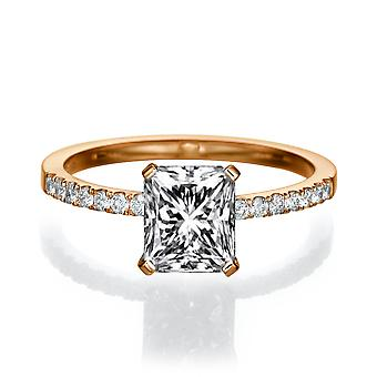 Beautiful 2.14ct White Sapphire and Diamonds Ring Rose Gold 14K