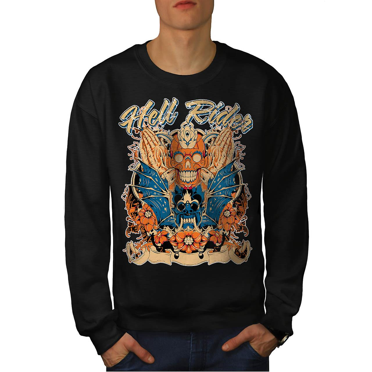 Hell Rider Samurai Warrior Mask Men Black Sweatshirt | Wellcoda