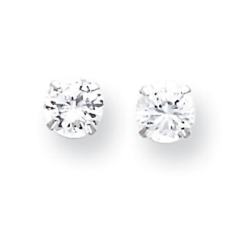 14k White Gold 5.25mm Cubic Zirconia Post Earrings - Measures 5.25x5.25mm