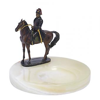 Onyx ashtray with einer broncefigur figurinebronce sculpture