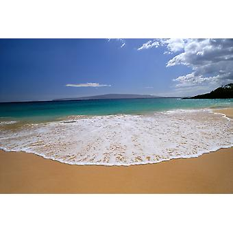 Hawaii Maui Makena Beach turkos Ocean strandlinjen se blå himmel Lanai bakgrund A47C PosterPrint