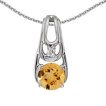 10k White Gold Round Citrine And Diamond Pendant with 16
