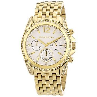 Michael Kors Chronograph Pressley mostrador branco ouro-tom Mens Watch MK5835