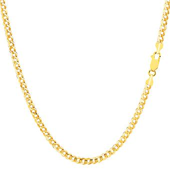 14k Yellow Solid Gold Comfort Curb Chain Bracelet, 2.7mm, 10
