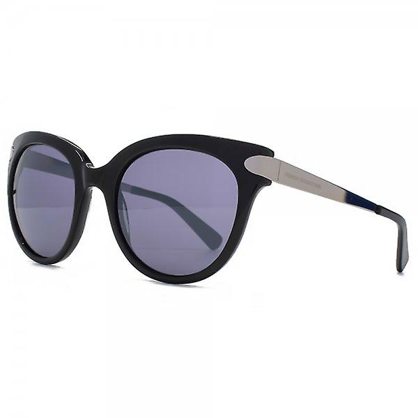 French Connection Premium Round Cateye Sunglasses In Shiny Black