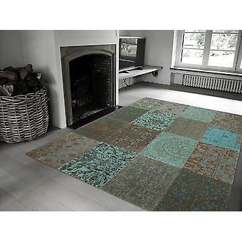 Vintage 8006 - hav blå bløde blå-grønne med Beige og brun. Rektangel tæpper moderne tæpper