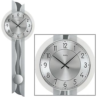 Wall clock quartz clock with pendulum wooden metal mineral glass 69 x 23 cm AMS