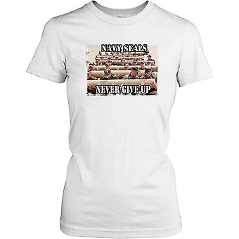 Damen T-shirt DTG Print - US Navy Seals - nie Give Up-