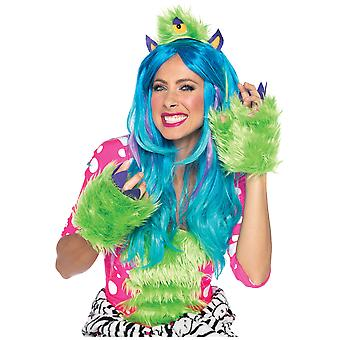 One Eyed Olive Furry Green Monster Women Costume Kit Headpiece and Gloves