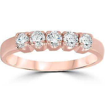 1 / 2ct 5 - sten diamant förlovningsring 14K roséguld