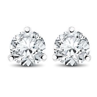 1/2 ct TDW Diamond 3-Prong Martni Studs