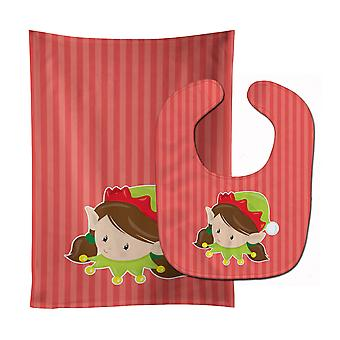 Christmas Brunette Girl Elf Baby Bib & Burp Cloth