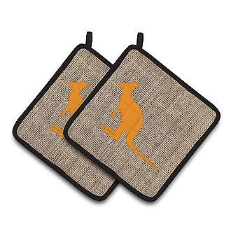 Kangaroo Faux Burlap and Orange   Pair of Pot Holders