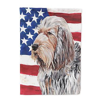 Otterhound with American Flag USA Flag Canvas House Size