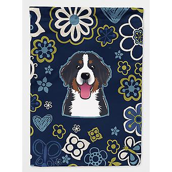 Carolines Treasures  BB5088GF Blue Flowers Bernese Mountain Dog Flag Garden Size