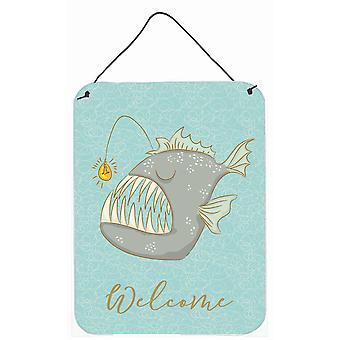 Carolines Treasures  BB8567DS1216 Frog Fish Welcome Wall or Door Hanging Prints