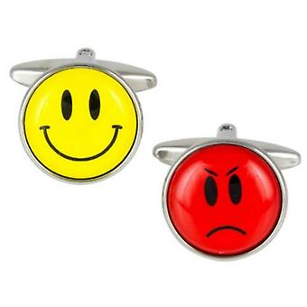 Zennor Faces Cufflinks - Yellow/Red