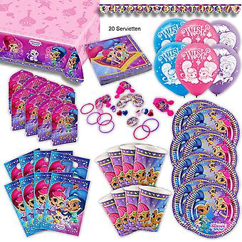 Shimmer and shine toddler party set XL 92-teilig for 8 guests at birthday party decoration party package